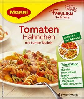 Maggi Familien fix & frisch Tomaten Hähnchen mit bunten Nudeln, 15x41 g Beutel