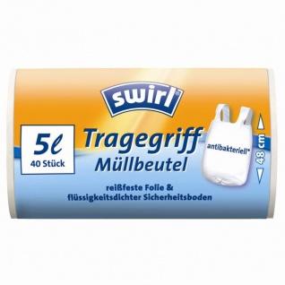 Swirl Müllbeutel Antibakteriell mit Tragegriffen in weiß 5 Liter - Vorschau