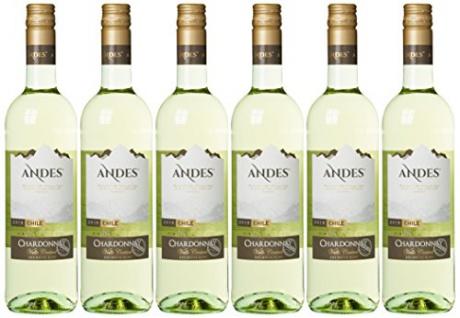 Andes Chardonnay trocken geschmackvoller Weißwein aus Chile 6x750ml