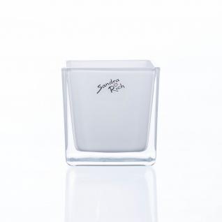 Sandra Rich Würfel Glas Blumentopf Übertopf Blumenübertopf weiß 8cm