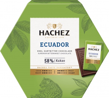 Hachez Ursprungstäfelchen Ecuador Edel Zartbitter Schokolade 165g