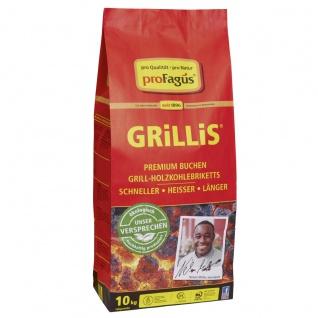Profagus Premium Buchen Grill Holzkohlebriketts GRiLLiS 10kg Beutel