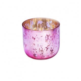 Windlicht Teelichthalter rosa Gold gesprenkelt 6x7cm 1 Stück