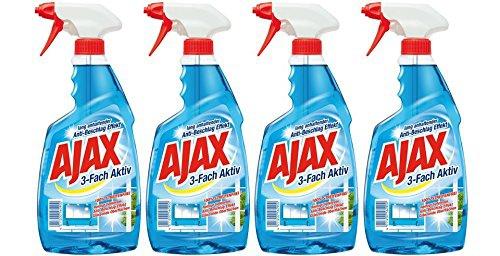 Ajax Glasreiniger 3 Fach Aktiv Antistreifen Antischmutz 500ml 4er Pack