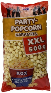 XOX Party Popcorn Karamell XXL vegan knusprig knackig frisch 500g