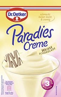 Dr. Oetker Paradies Creme Weiße Schokolade einfache Zubereitung 70g