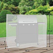Premium Schutzhülle für Gasgrill/Gasgrillküche/Grillwagen aus Polyester Oxford 600D - lichtgrau - von 'mehr Garten' - Größe M (120 x 75 cm)