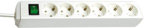 Brennenstuhl Eco Line Steckdosenleiste mit Schalter 6fach weiß