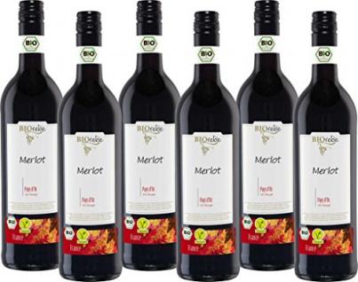 BIOrebe Merlot IGP Frankreich Rotwein trocken fruchtig 4500ml, 6er Pack