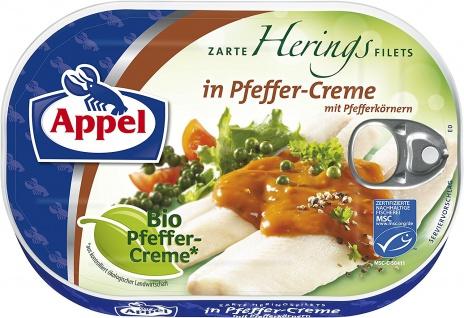 Appel Heringfilets in Bio Pfeffer Creme mit Pfefferkörnern 200g