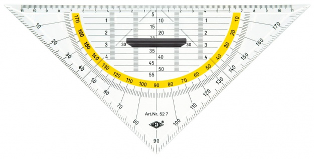 WEDO Geometrie Dreieck Transparent abnehmbarer Griff Kunststoff 25cm