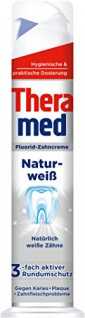 Theramed Zahncreme Spender Naturweiß Fluorid-Zahncreme 100ml 5er Pack