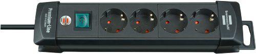 Brennenstuhl Premium-Line, Steckdosenleiste 4-fach (Steckerleiste mit Schalter und 1, 8m Kabel -45° Winkel der Schutzkontakt-Steckdosen) Farbe: schwarz