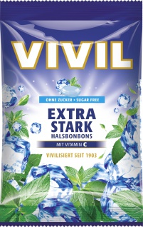 Vivil Halsbonbons Extra Stark mit Vitamin C ohne Zucker 80 g