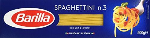 Barilla Hartweizen Pasta Spaghettini nummer 3, 500g 8er Pack