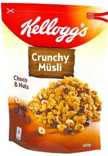 Kelloggs Crunchy Müsli Choco und Nuts knusprige Cerealien 500g