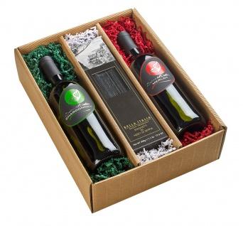 Salute Italia Präsentkarton 2 Flaschen Wein und Spaghetti di Seppia 2500g