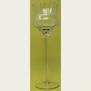 Windlicht Teelichthalter Glas mit Stiel geriffelter Oberfläche 29cm