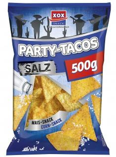 XOX Party Tacos Salz leckere Maischips mit Salz 500g 3er Pack