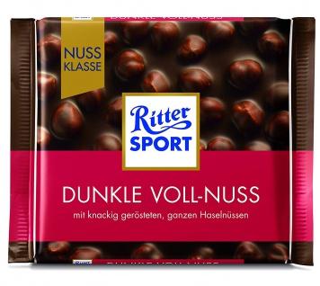 Ritter Sport Dunkle Voll-Nuss Halbbitterschokolade mit ganzen Haselnüssen 100g