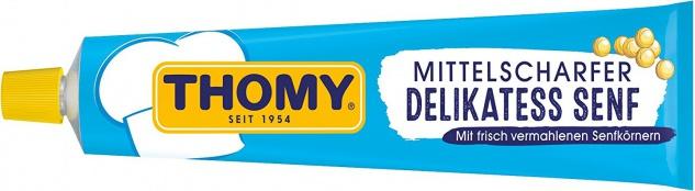 Thomy Mittelscharfer Delikatess Senf in der Tube 200ml, 12er Pack
