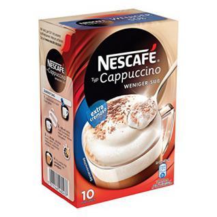 Nescafé Typ Cappuccino Weniger Süß, Löslicher Kaffee, Instantkaffee, 10 Portionen zu je 12.5 g