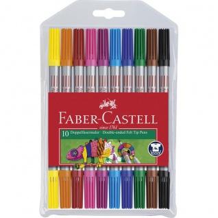 Faber Castell Filzstift Doppelfasermaler im Etui mit 10 Stiften