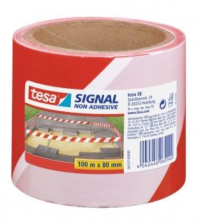 Tesa Signal Warnband Absperrband nicht klebend rot weiß 80mm x 100m