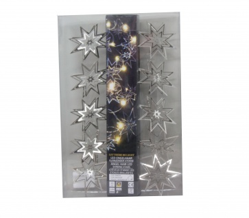 Blauth Lichterkette aus Sterne 10 LEDs aus 3D Metall in Silber