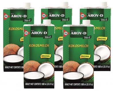 Kokosmilch Aroy-D natürliche Kokusmilch zum Backen und Kochen 1000ml 5erPack