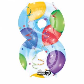 Super Shape Party Discount Ballongrüsse XXL Zahl 8th Bunt 3 Ballons
