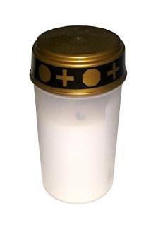 4er Set LED Kerze Grabkerze Grablicht Ewiges Licht Elektro flackerndem Kerzenschein Rot oder Weiß - Leuchtdauer bis ca. 1440 Stunden , incl. Batterien und Bodenanker (Weiß)