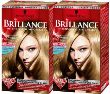 Schwarzkopf Brillance Intensiv-Color-Creme Stufe 3, 840 Mittelblond, 2er Pack (2 x 143 ml)