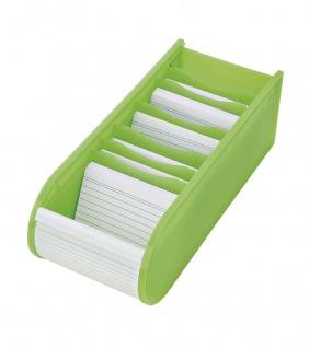 WEDO Lernkartei Karteibox 6 Stützplatten Grün DIN A8 Rollverschluss