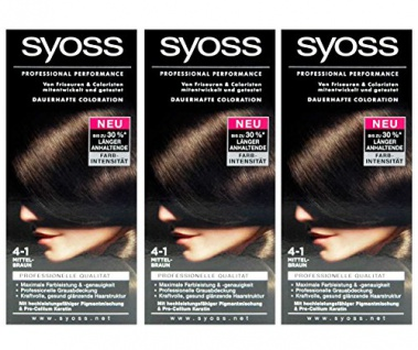 3x SYOSS Haarfarbe 4-1 MITTELBRAUN - Farbgenaues Ergebnis