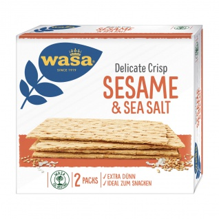 Wasa Delicate Crisp Cracker Sesam und Sea Salt Knäckebrot 190g