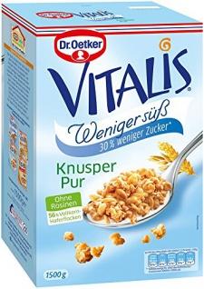Dr Oetker Vitalis Müsli Knusper pur weniger süß 1500g 2er Pack