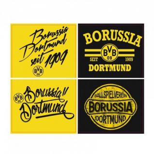 Borussia Dortmund Aufkleberkarte Retro Sticker BVB 09 4er Set