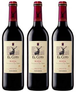 El Coto Crianza Rioja trockener und fruchtiger Rotwein 2250ml, 3er Pack