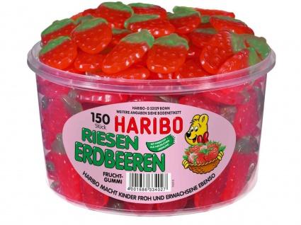 Haribo Riesen Erdbeeren Fruchtgummi gelatinefrei 1350g in Dose