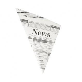 """1000 Pommes-Frites-Spitztüten, Pergament-Ersatz, gefäd. 32, 5 cm x 23 cm x 23 cm """" Newsprint"""" Füllinhalt 250 g, fettdicht, 1 x 1000 Stück"""