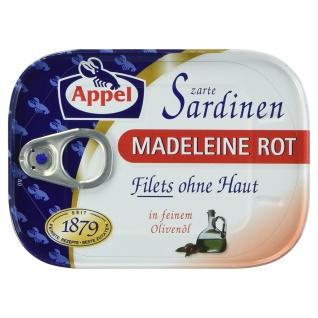 Appel Sardinen Madeleine Rot Zarte Sardinenfilets in Olivenöl 105g