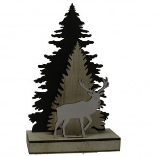 Holz Dekobaum Rentier mit LED natur grau für die Weihnachtszeit