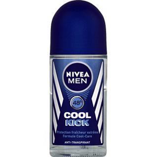 Nivea - For men - Cool kick, anti-transpirant 24h, protection fraîcheur extrême, formule cool-care - Le roll-on de 50ml - (for multi-item order extra postage cost will be reimbursed)