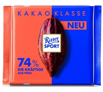 Ritter Sport Kakao-Klasse 74% Peru - Die Kräftige aus Peru 100g