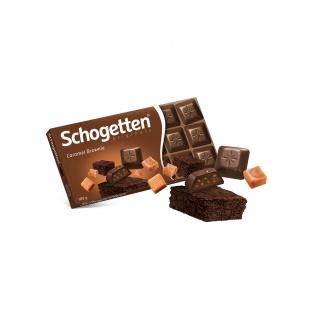 Schogetten Caramel Brownie mit Füllung und Kakaokeks Stücke 100g