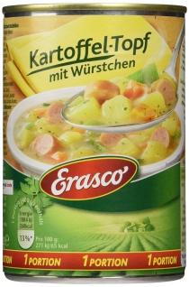 Erasco Kartoffel Topf mit Würstchen und Speckstücke 400g 3er Pack