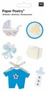 3D-Sticker Zur Geburt Blau