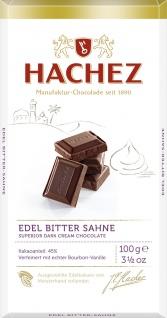 Hachez Edel Bitter Sahne Tafel Dunkle Creme Schokolade 100g
