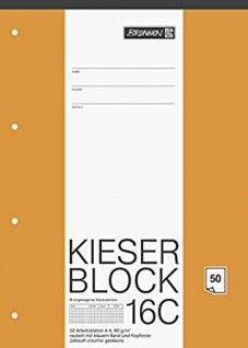 Kieser Block 16c DIN A4 Schullineatur 4-fach gelocht